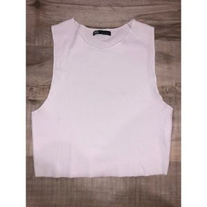Zara white ribbed crop top